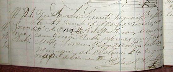 Gregorio Rubi Death Record