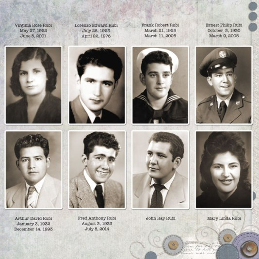 The Children of Lorenzo Sebastian Rubi and Maria Virginia (Jean) Lopez - Rubi
