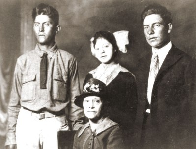 Damiana Rubi (sitting) with Son, Benito Rubi (left); Daughter, Florentina Rubi, and George (Goyo) Gonzales (husband-to-be)